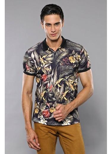 Wessi Erkek Slim Fit Polo Yaka Çiçek Desenli Tişört İndigo